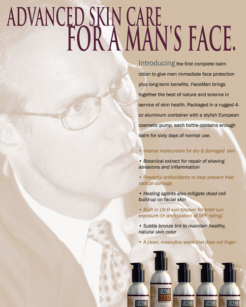 Here, for example, is an ad for an after shave balm my company developed, ...