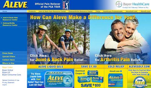 Aleve web page 1