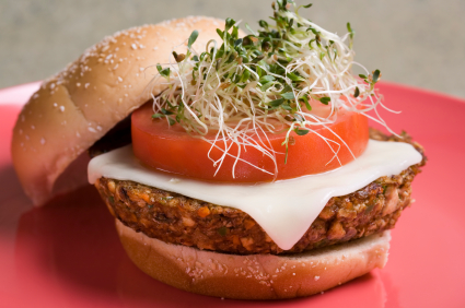 Alflafa sprouts tofu burger 1