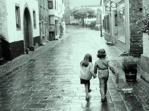 Boomer children walking as couple