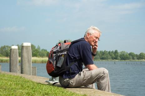 Pondering hiker Boomer