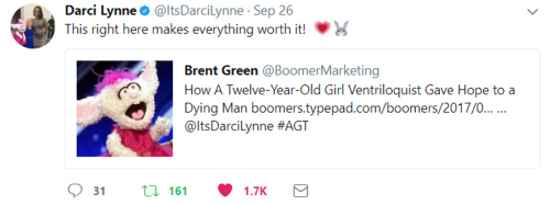 Darsi Lynne tweet re blog post